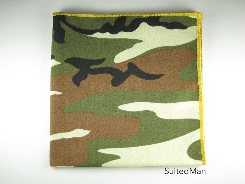Pocket Square, Abstract Camo with Deep Yellow Embroidered Edge - SuitedMan