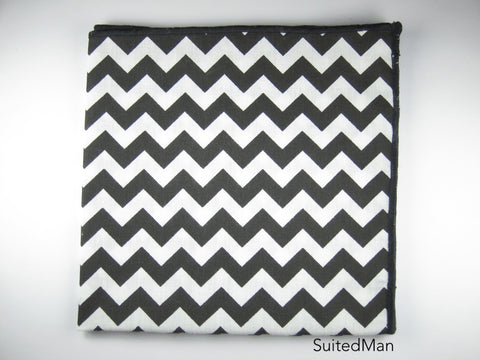 Pocket Square, Chevron, Black - SuitedMan