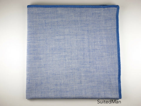 Pocket Square, Chambray Cotton, Blue
