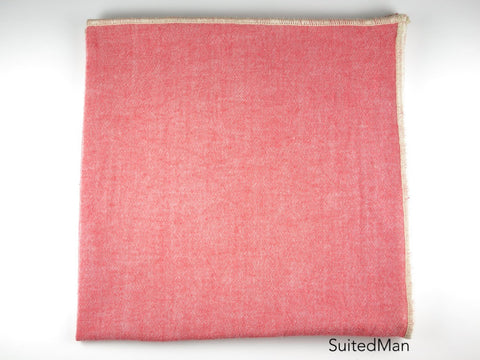 Pocket Square, Chambray Cotton, Coral Red