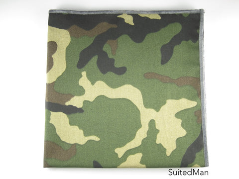 Pocket Square, Dark Camo with Grey Embroidered Edge - SuitedMan
