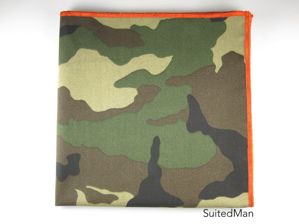 Pocket Square, Dark Camo with Tangerine Embroidered Edge - SuitedMan