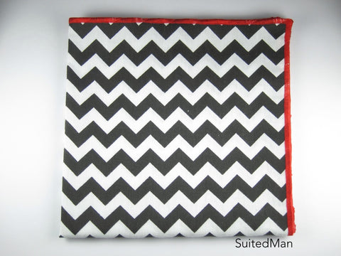 Pocket Square, Chevron, Black with Red Embroidered Edge - SuitedMan