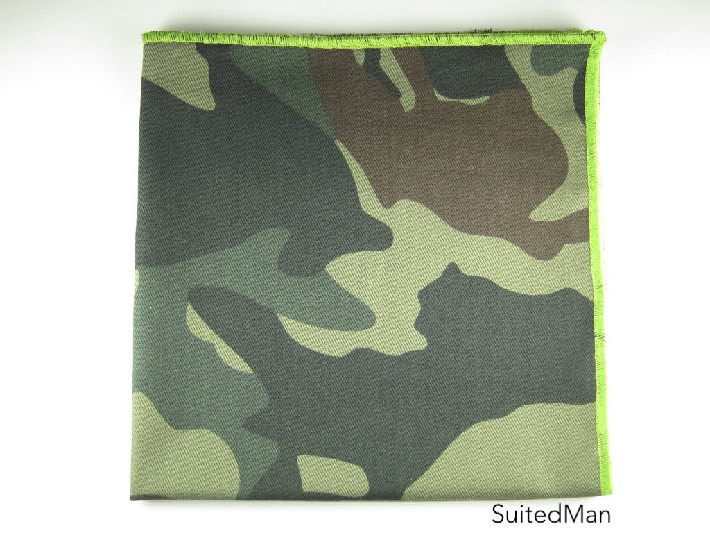 Pocket Square, Light Camo with Green Embroidered Edge - SuitedMan