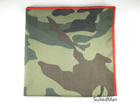 Pocket Square, Light Camo with Red Embroidered Edge - SuitedMan