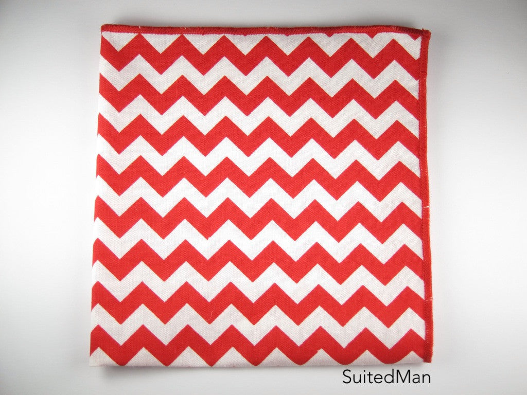 Pocket Square, Chevron, Red - SuitedMan