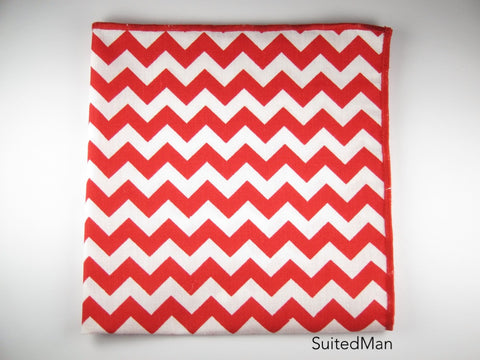 Pocket Square, Chevron, Red