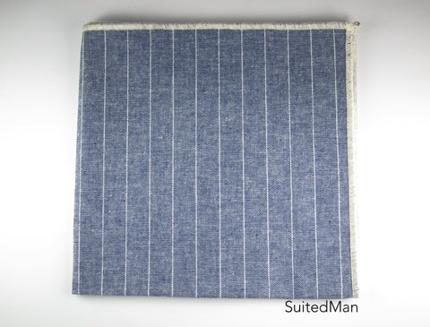 Pocket Square, Blue Chambray Stripes