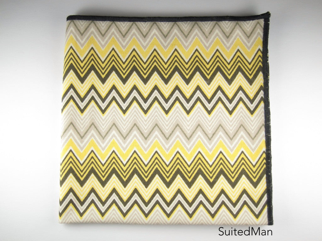 Pocket Square, Chevron, Yellow - SuitedMan