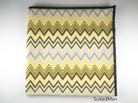 Pocket Square, Chevron, Yellow