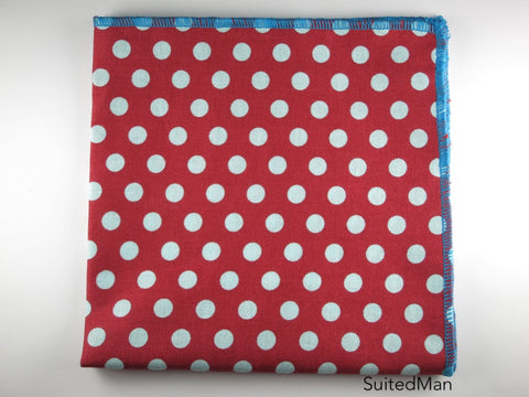 Pocket Square, Dots, Red/Teal
