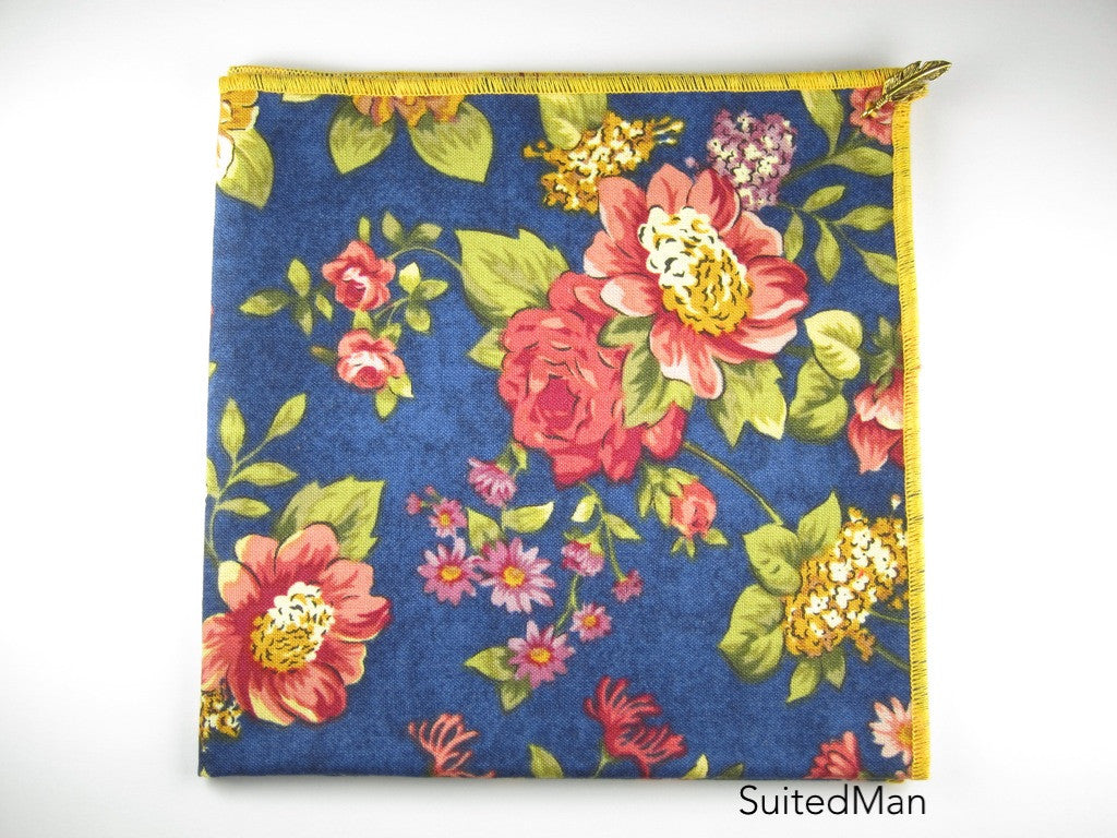 Pocket Square, Floral Blue with Signature Leaf (Extremely Limited) - SuitedMan