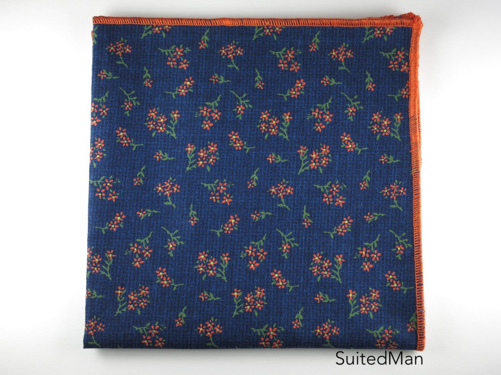 Pocket Square, Floral Navy/Tangerine - SuitedMan