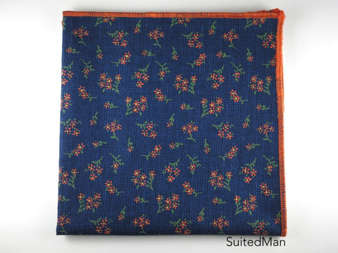 Pocket Square, Floral Navy/Tangerine