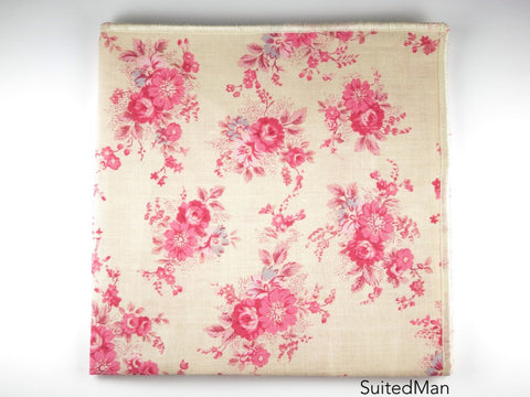Pocket Square, Vintage Pink Floral - SuitedMan