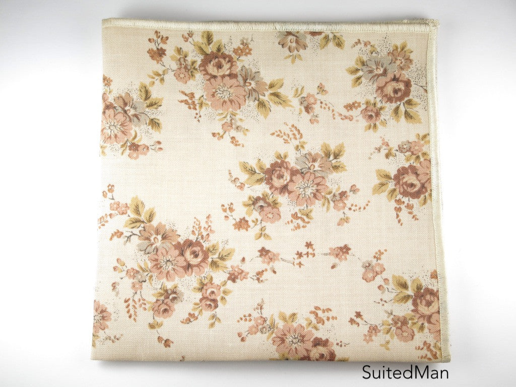 Pocket Square, Vintage Brown Floral with Rosette Pin Combo - SuitedMan