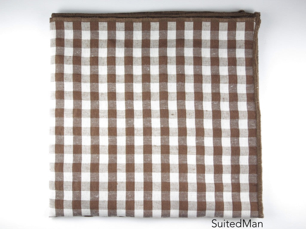 Pocket Square, Gingham, Brown - SuitedMan