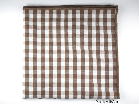 Pocket Square, Gingham, Brown