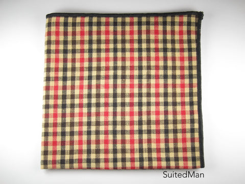 Pocket Square, Gingham, Black/Red/Tan