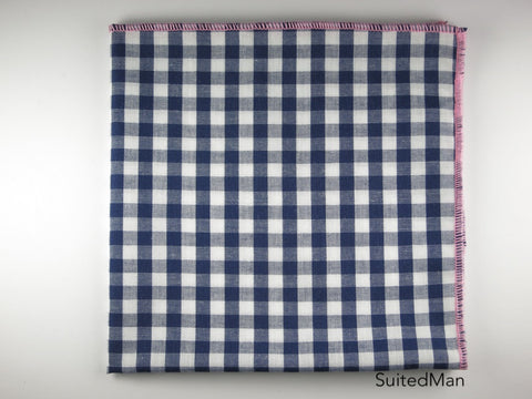 Pocket Square, Gingham, Navy/Pink