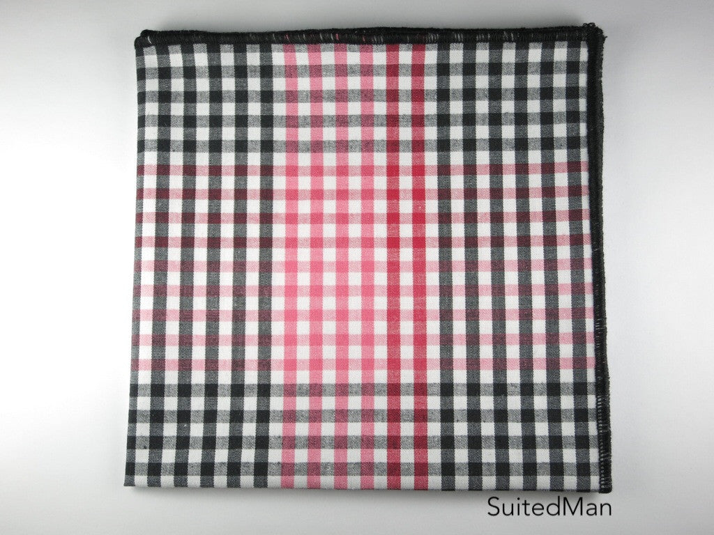 Pocket Square, Gingham, Red/Black - SuitedMan