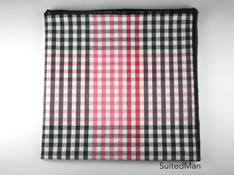 Pocket Square, Gingham, Red/Black