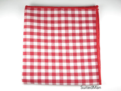 Pocket Square, Gingham, Red