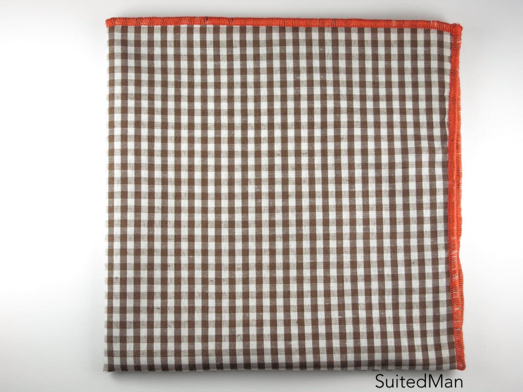 Pocket Square, Gingham Small, Brown - SuitedMan