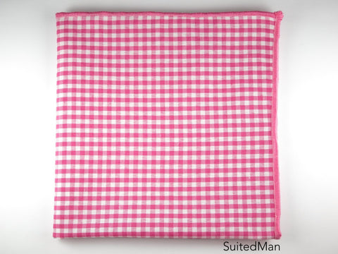 Pocket Square, Gingham Small, Pink