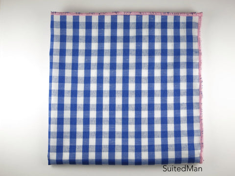 Pocket Square, Gingham, Blue/Pink