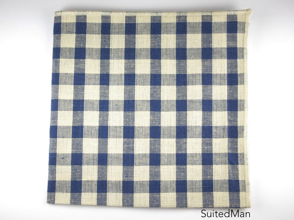 Pocket Square, Gingham, Vintage Blue - SuitedMan