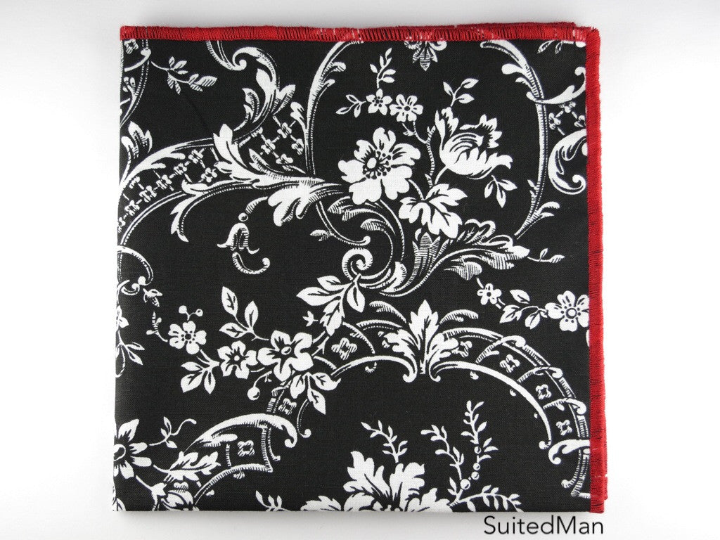 Pocket Square, Black/Red Floral - SuitedMan