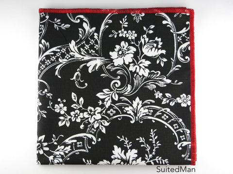 Pocket Square, Black/Red Floral