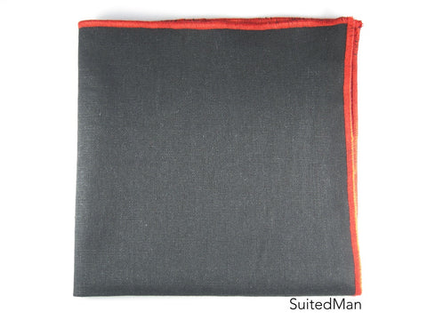 Pocket Square, Linen, Black with Red Embroidered Edge - SuitedMan