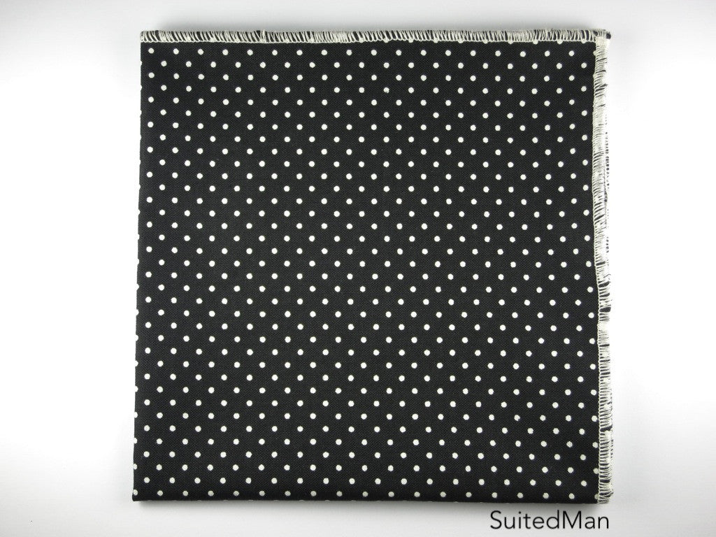 Pocket Square, Polka Dots, Black/Cream with Cream Edge - SuitedMan