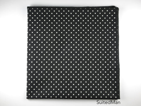Pocket Square, Polka Dots, Black/Cream