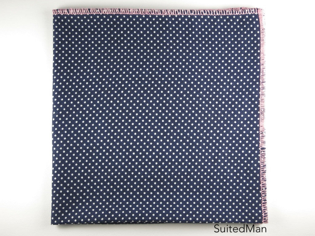 Pocket Square, Pindot, Navy/White with Pink Edge - SuitedMan