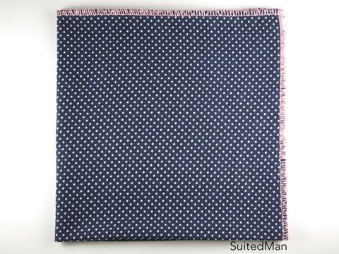 Pocket Square, Pindot, Navy/White with Pink Edge