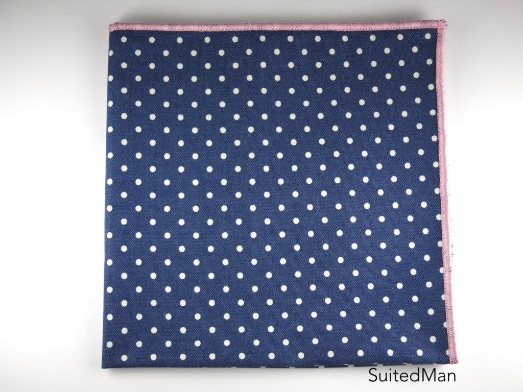 Pocket Square, Polka Dots, Navy/White with Pink Edge - SuitedMan