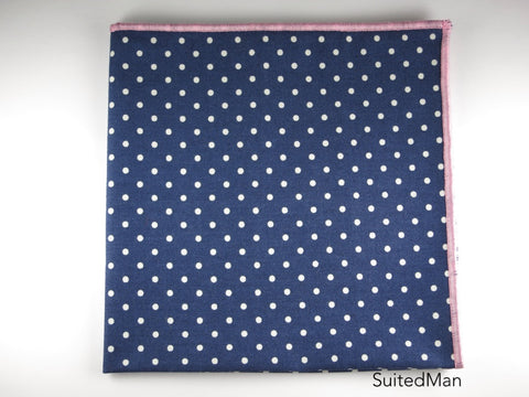 Pocket Square, Polka Dots, Navy/White with Pink Edge