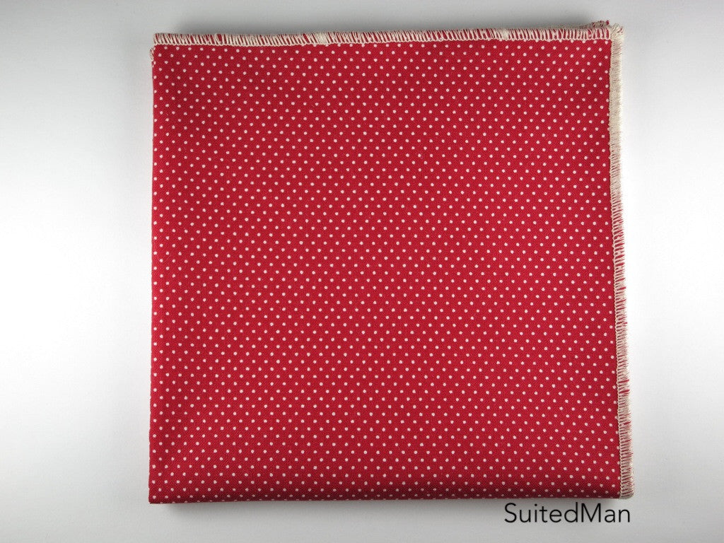 Pocket Square, Pindot, Red - SuitedMan