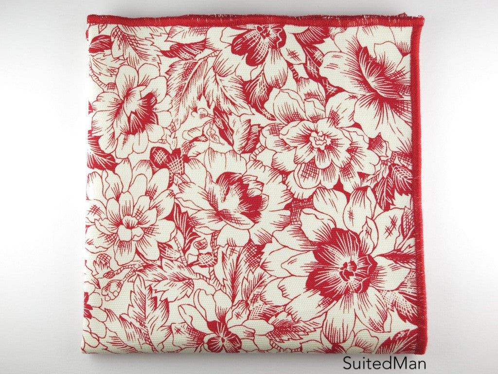 Pocket Square, Red Floral - SuitedMan