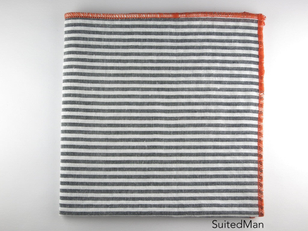 Pocket Square, Seersucker, Stripes, Gray/Tangerine - SuitedMan