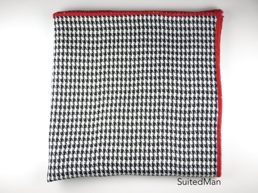 Pocket Square, Tesse, Black with Red Embroidered Edge - SuitedMan
