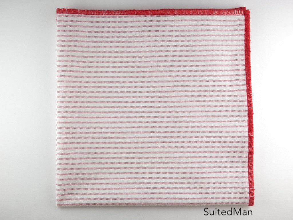 Pocket Square, Vintage Red Stripes - SuitedMan