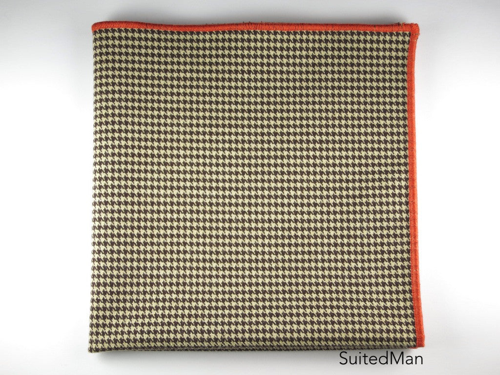 Pocket Square, Houndstooth, Brown with Tangerine Embroidered Edge - SuitedMan