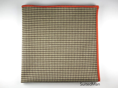 Pocket Square, Houndstooth, Brown with Tangerine Embroidered Edge