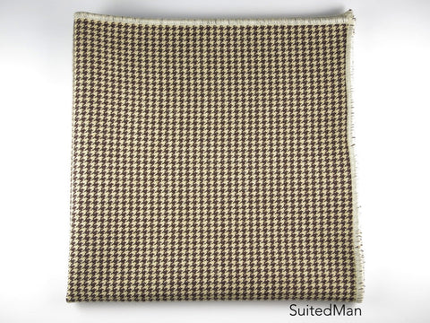 Pocket Square, Houndstooth, Brown/Cream - SuitedMan