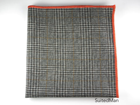 Pocket Square, Plaid, Black/Tan with Tangerine Embroidered Edge - SuitedMan