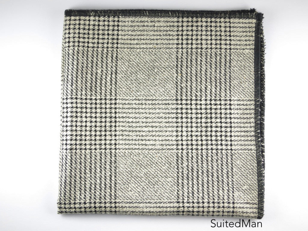 Pocket Square, Plaid, Black/Gray - SuitedMan